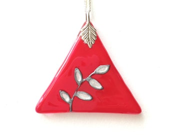 Red Glass Pendant with Silver Leaves Design, Hand Painted Glass Necklace, Glass Triangle Pendant, Red Necklace