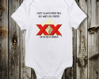 Dos Boobies one piece Funny Baby bodysuit Dos Equis Beer Bodysuit Baby Shower Gift Boy T shirt