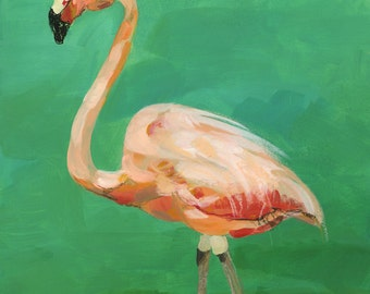 Pink & Green Flamingo - PRINT of original