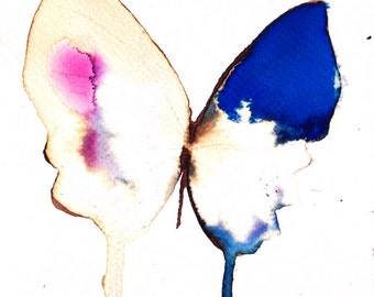ultramarine blue, pink and white butterfly original watercolour painting