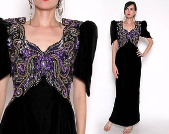 Vintage 90s Velvet Evening Gown with Butterfly Beaded Sequin Bust / M