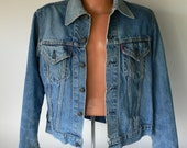 Vintage Levi, big E, jacket, red label, denim, workwear from Diz Has Neat Stuff