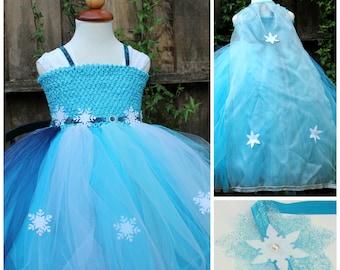 Elsa Dress, Cape and Headband (Three  items combo) - Designer Costume - Disney Frozen Elsa Dress