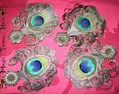 4 x PEACOCK feather FASCINATOR boho hair jewelry Bridesmaids Wedding goth headpiece Larp costume Burlesque accessory