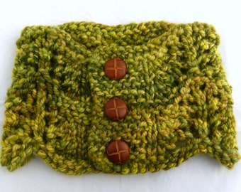 SALE Moss Cowl - Handknit Wearable Art Cowl made with OOAK Hand-dyed Handspun Yarn