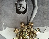 RARE Yellow Rhinestone Brooch Pin for Special Occasion, Bridal, Birthday or gift
