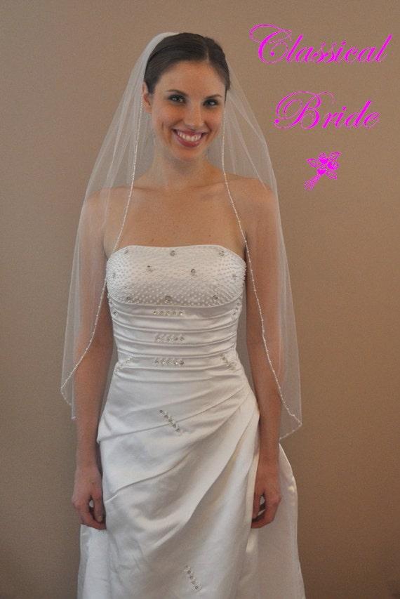 FIFI -- Round Pearl & Silver Bead Fingertip Veil 1 Tier 40 Inch in White, Diamond White, or Ivory Tulle, custom handmade wedding bridal veil