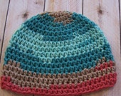 Baby Soft Crochet Beanie Hat - Pink Brown Mint Turquoise Crochet Warm Soft Winter Clothing Photo Prop - READY TO SHIP