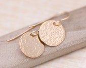 Gold Earrings, Hammered Gold Earrings, Gold Disc earrings, Gold Circle Earrings, Minimal Earrings, Every day gold earrings