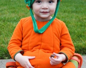 Crochet Pumpkin Bag - Orange and Green Halloween Trick or Treat Basket