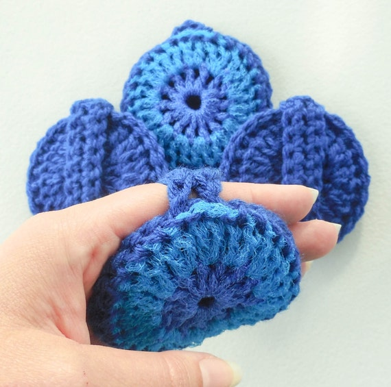 Multipurpose Pot Scrubber -  Set of 2 through 8 - Bright Blue and Cobalt Blue Reversible Nylon Pot Scrubbies With Handle