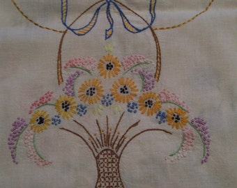 Embroidered Table Runner Flower Basket of Daisies Hand Stitched Vintage