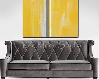 Abstract Painting, Yellow and Grey Abstract Art XLarge 48x36, Original Abstract Art Yellow and Gray