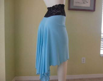 Tango Argentino & Salsa asymmetric Skirt turquiose Size 0 to 8 with high Waist stretchy Lace  Dancewear Jupe