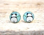 Small Ear Post, Light Blue Panda, Everyday Jewelry (E83)