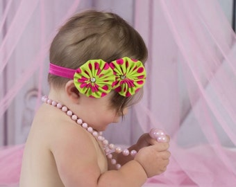 Yo Yo Flower Headband Baby Girl Newborn Photo Prop Lime Green Hot Pink Polka Dots Flowers Pearl Bead Centers on Hot Pink Elastic Headband