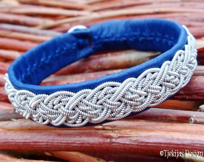 Genuine Swedish Lapland Sami Bracelet YGGDRASIL Custom Handmade in Silksoft Blue Reindeer Leather with Viking Braided Spun Pewter Wire