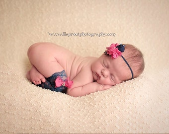 Navy Blue and Hot Pink Embellished Stretch Lace Leggies/Leg Warmers and Headband Set Newborn Baby Child Photo Prop
