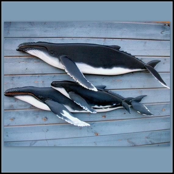Humpback whale wood carving coastal decor nautical by