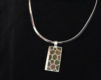 Silver Pendant Necklace with Multicolored Stone Inlay