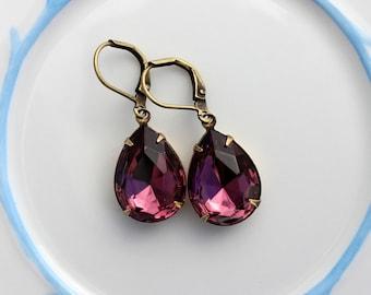Amethyst earrings, purple earrings, teardrop earrings, amethyst earring, amethyst purple earrings, purple wedding, bridesmaid earrings MA04