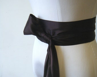 Super Sample Sale: Chocolate Brown Dupioni Silk Sash  various way to tie