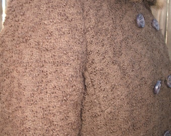 1960s Vintage Chocolate Brown  Wool Coat with Mink Collar Small/ Made by Joseph Horne Co. Pittsburgh