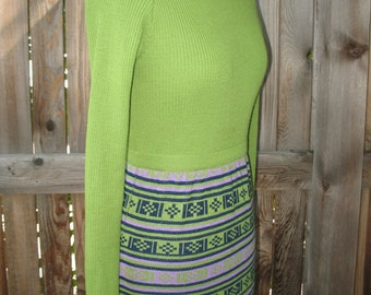 Vintage 1970s Green with Southwestern Printed Skirt Sweater Dress/ Size Medium By Evan Roberts