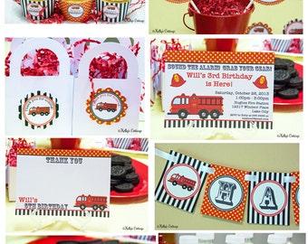 Fire Truck Birthday Party Package...Custom, Printable DIY Package