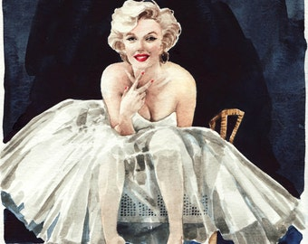 Marilyn Monroe Art Painting Norma Jean Portrait of a Lady - ORIGINAL Watercolor 8 x 10 - Ballet Skirt Early Years Icon Seven Year Itch
