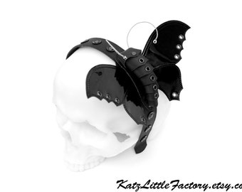 "Bat moth ""Fangs von Schmetterling"" headband Shiny Black PVC  Scultured Studded Headpiece"