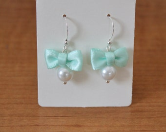 White Pearl and Mint Green Bow Earrings