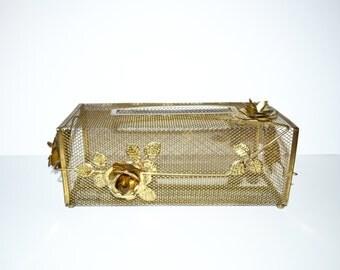 Brass Tissue Holder Brass Tissue Box Holder Hollywood Regency Bathroom Brass Roses Kleenex Holder