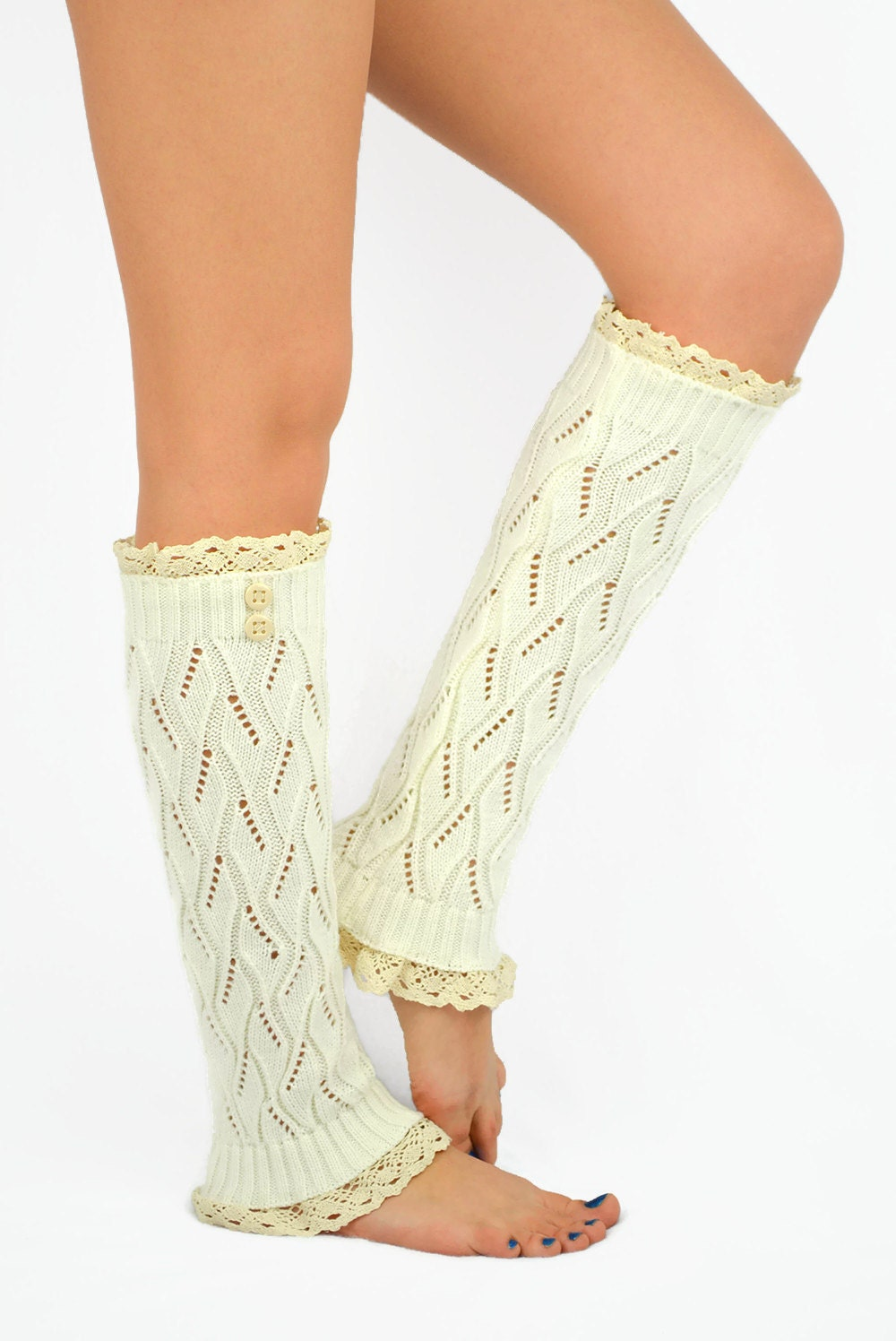 IVORY Knitted Boot Socks Lace Leg Warmers Womenu0026#39;s By JuicyBows
