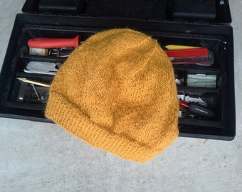 Men's Alpaca Wool Beanie Golden Rod Yellow Light Thin Hand Knit Winter Hiking Skiing Snowboarding Gent's Hat (One Size - Ready to Ship)