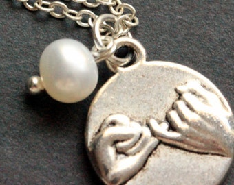 Pinky Swear Necklace. Fresh Water Pearl Charm Necklace. Friendship Necklace. Handmade Jewelry.