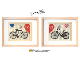 Bicycle Love set dictionary print -Bicycle love print-Bicycle art print set-Bicycle on book page-Upcycled Dictionary page - by NATURA PICTA