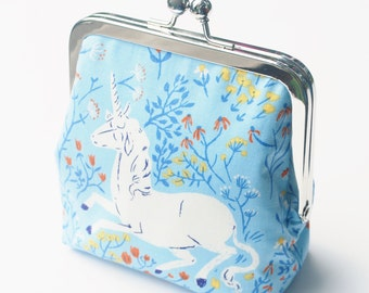 Kisslock Snap Frame Purse, Large Coin Purse, Unicorn and Wildflowers, Blue, Size Large