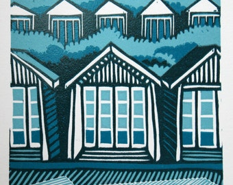 Blue Beach Huts, signed original linocut print, Limited Edition - contemporary fine art