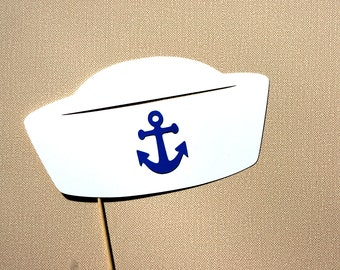 Photo Booth Props - Sailor Hat - Photobooth Props - White with Blue Anchor