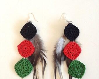 Rasta Dangle-Langle Crochet Earrings with Feather