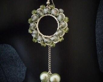 Gothic Victorian Earrings -green  round playful elegant  vampire romantic flower  wedding earrings
