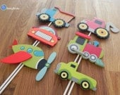 Planes, Trains & Automobiles Shape Cake Toppers or Party Decorations construction car dump druck train pickup tractor train