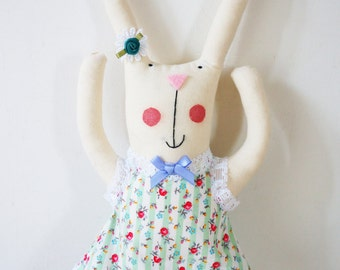 handmade bunny rabbit art doll with personalised name