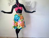 DeWeese Design MOD Vintage 1960s Swimsuit Cover Up Wrap Hippie Skirt Boho Beach Pool De Weese Designs Swimwear Tiki Bar Polynesian Sexy L