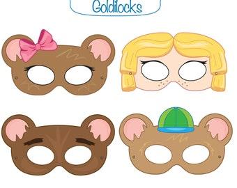 Woodland forest animals printable masks woodland animal mask goldilocks and the three bears goldilocks costume goldie locks printable party masks pronofoot35fo Gallery