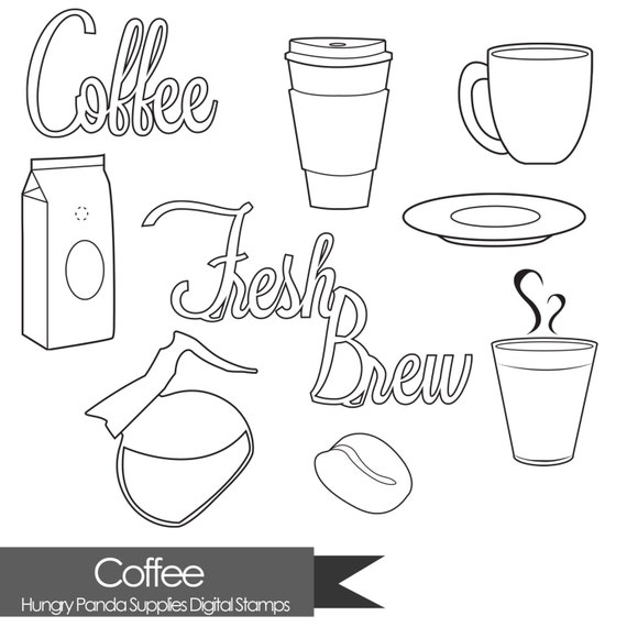 Line Art Java : Coffee digital stamp java stamps commercial use