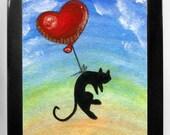 Black Cat Art, Bedroom Decor, Red Balloon Print, 8x10 Wall Art, Childrens Room Art, Nursery Artwork, Heart Balloon, I Love You