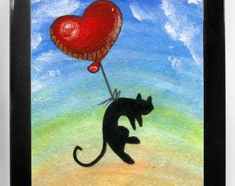 Black Cat Art, Any Size Print, Bedroom Decor, Red Balloon Nursery, Large Wall Art, Animal Illustration, I Love You, Pet Owner Gift