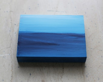 BLUE - Contemporary Art on Wood -- Sea (I) - Abstract - Modern - Miniature art